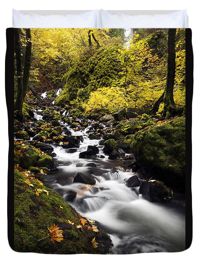 Starvation Creek Duvet Cover featuring the photograph Autumn Swirl by Mike Dawson