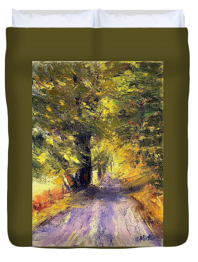 Autumn Duvet Cover featuring the painting Autumn Walk by Gail Kirtz
