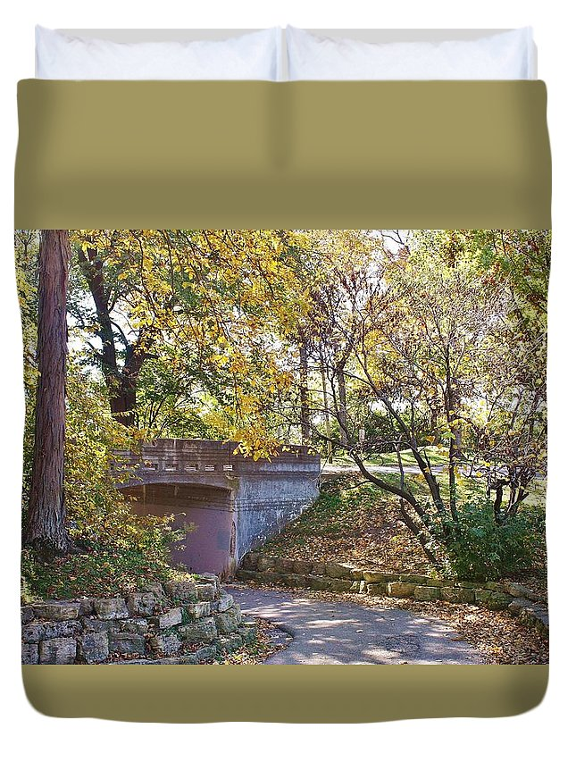 Sinnissippi Park Duvet Cover featuring the photograph Autumn Walk In The Park by Bruce Bley