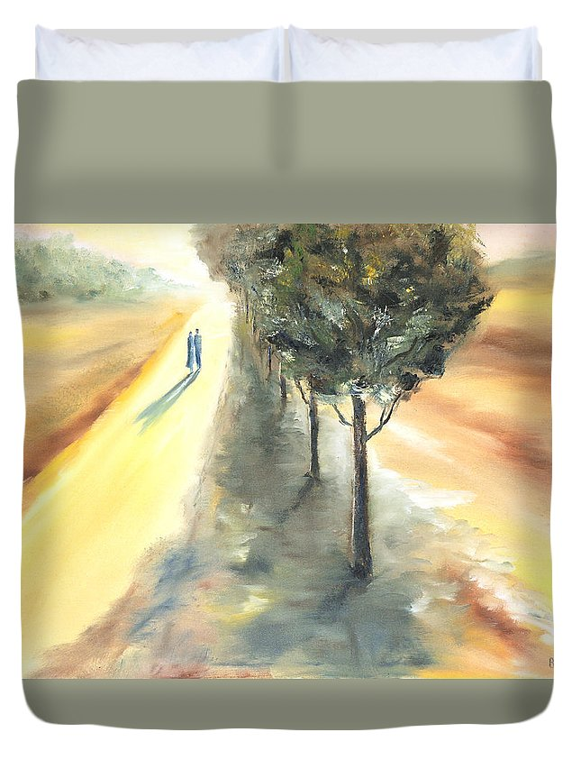 Landscape Duvet Cover featuring the painting Autumn Walk by Vera Persiyanova