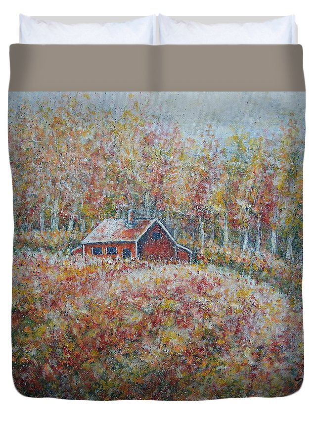 Landscape Duvet Cover featuring the painting Autumn Whisper. by Natalie Holland