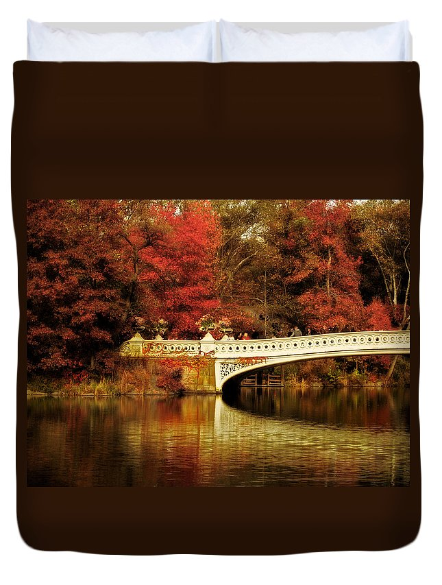 Nature Duvet Cover featuring the photograph Autumnal Bow Bridge by Jessica Jenney