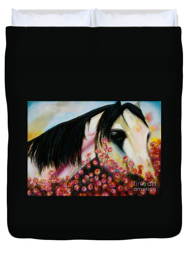Horse Duvet Cover featuring the painting Avalon's Rose by Sidra Myers