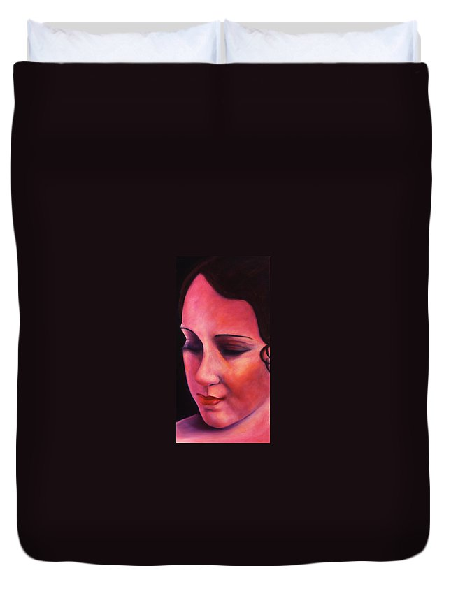 Portrait Duvet Cover featuring the painting Ave Maria by Shannon Grissom