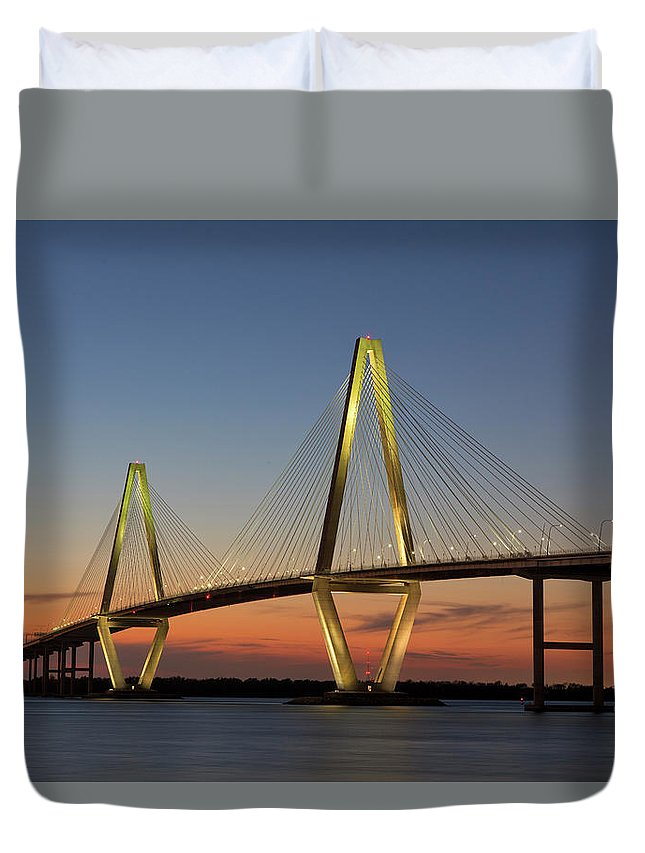 South Carolina Duvet Cover featuring the photograph Avenell Bridge Sunset by Nancy Dunivin