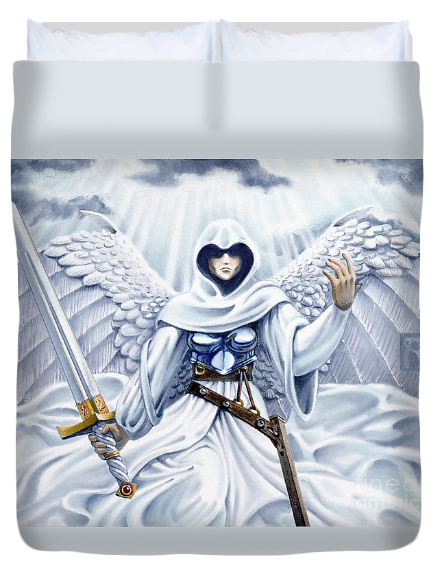 Angel Duvet Cover featuring the painting Avenging Angel by Melissa A Benson