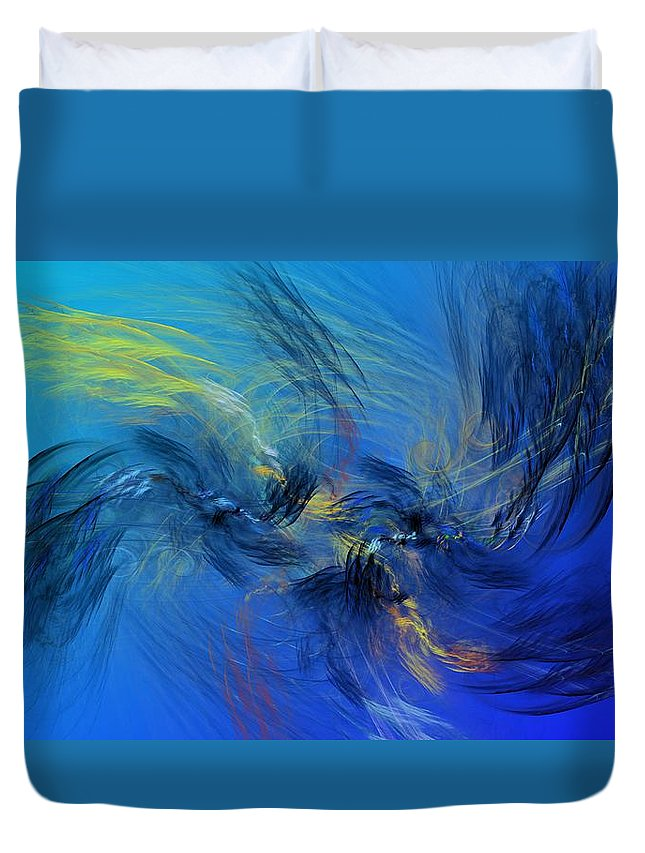 Fine Art Duvet Cover featuring the digital art Avian Dreams 4 - Mating Rituals by David Lane
