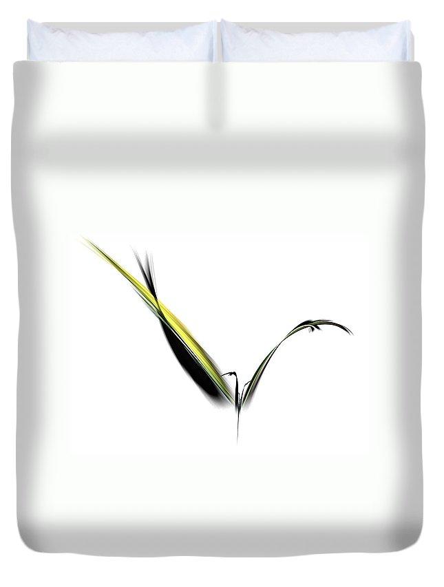 Avian Duvet Cover featuring the digital art Avian Zen - Fractal Art by NirvanaBlues