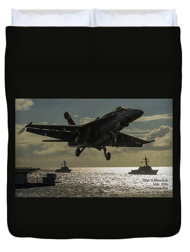 Aviation Art Duvet Cover featuring the painting Aviation Art Catus 1 No. 26 L A by Gert J Rheeders