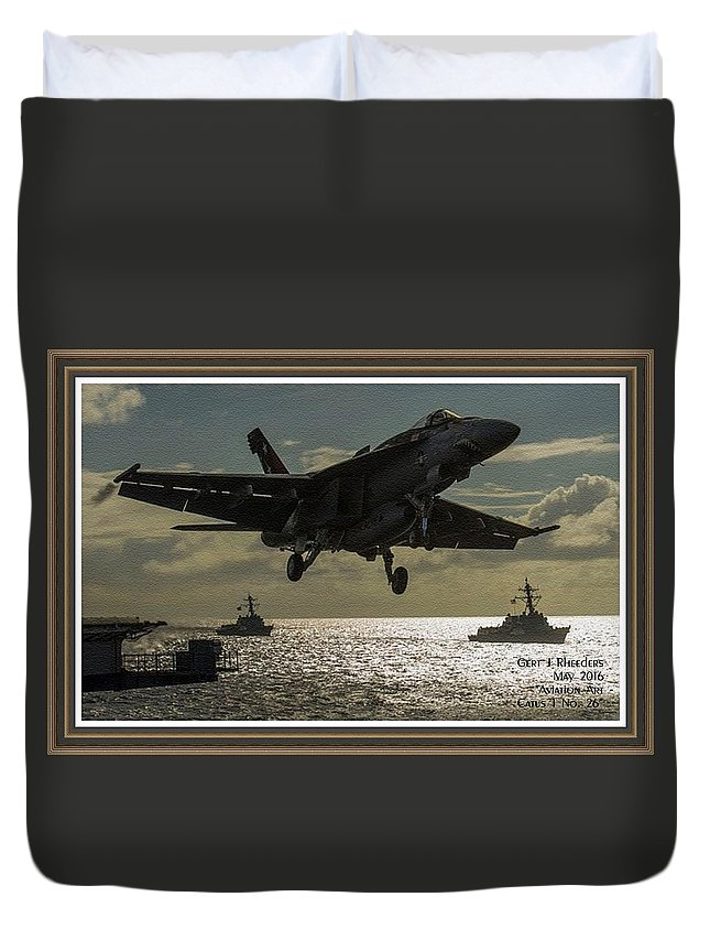 Aviation Art Duvet Cover featuring the painting Aviation Art Catus 1 No. 26 L A With Decorative Ornate Printed Frame. by Gert J Rheeders
