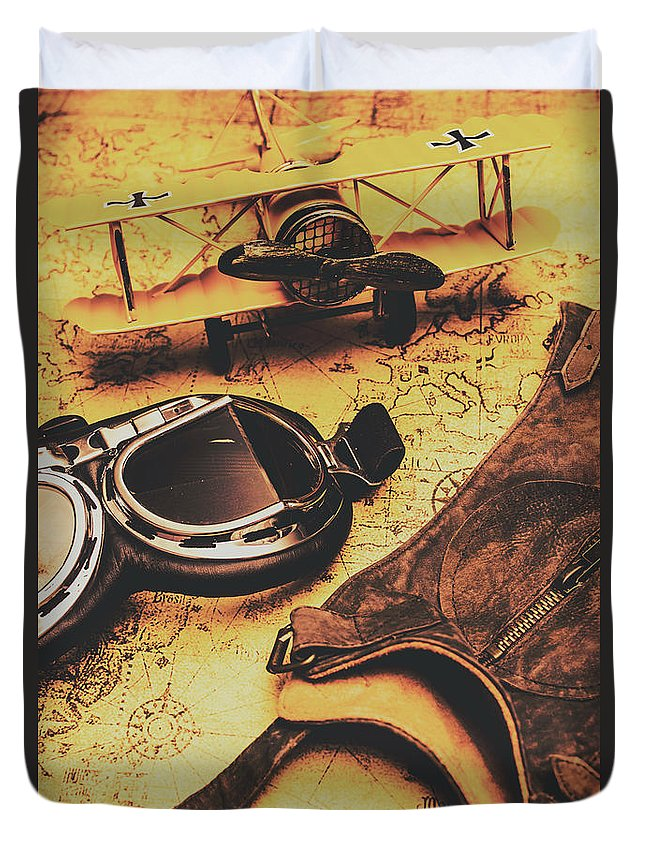 Aviator goggles cap and airplane on old world map duvet cover for aeroplane duvet cover featuring the photograph aviator goggles cap and airplane on old world map by gumiabroncs Image collections