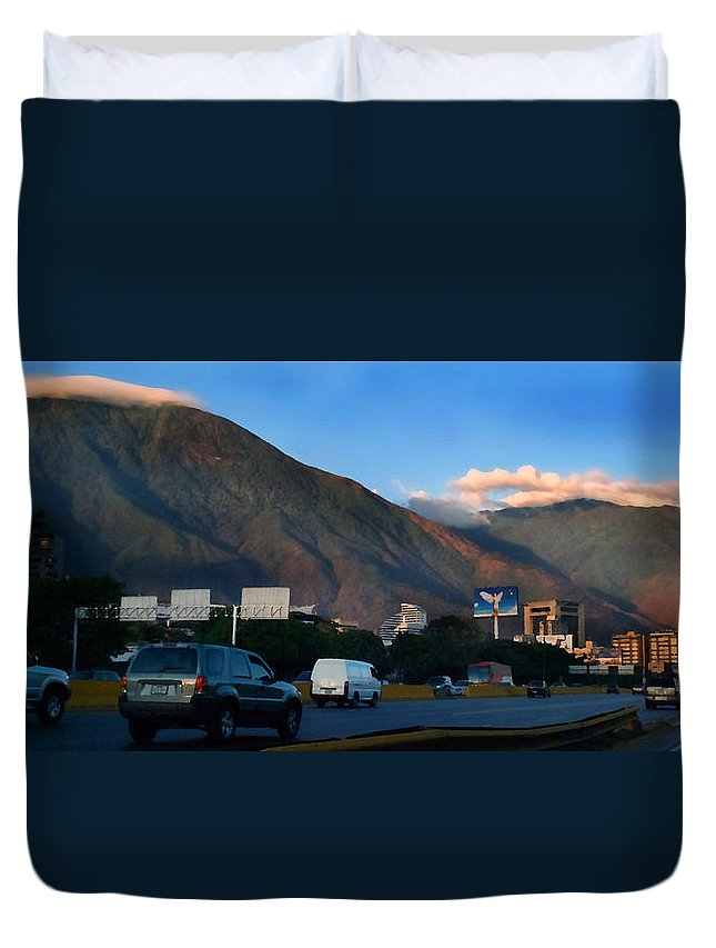 Avila Duvet Cover featuring the photograph Avila From The Highway by Bibi Rojas