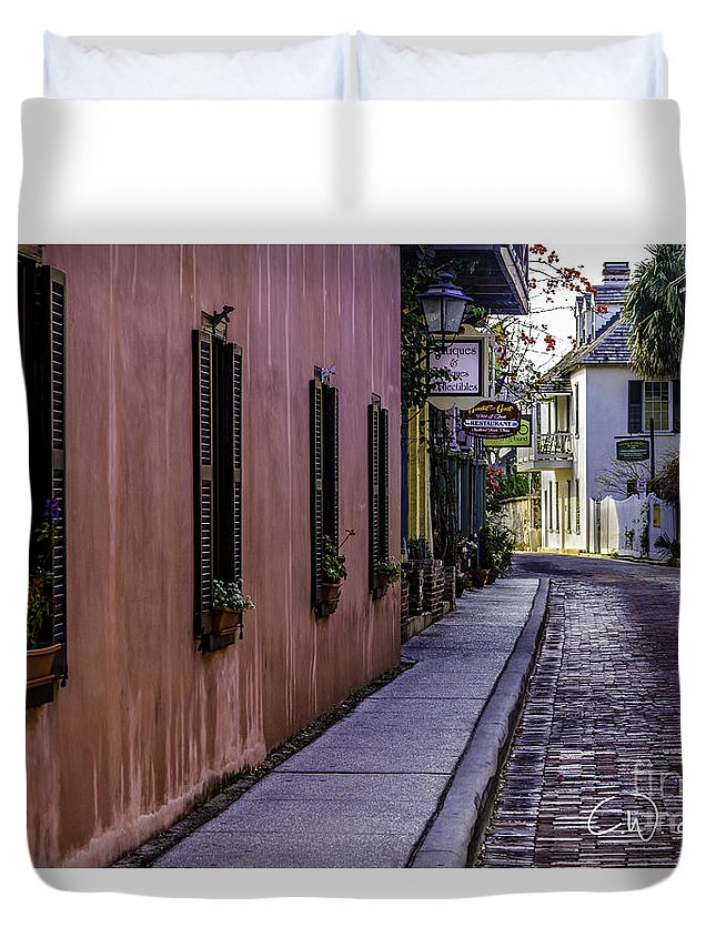 Artistic Photography By C.w. Hooper Duvet Cover featuring the photograph Aviles Street The Oldest Street In The Usa by C W Hooper