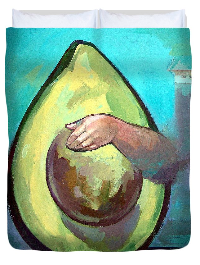 Avocado Duvet Cover featuring the painting Avocado by Filip Mihail
