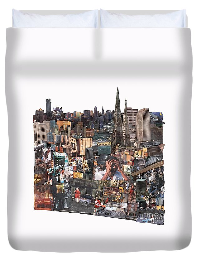 City Duvet Cover featuring the mixed media Avoidance Aka Sit And Stand by Jaime Becker