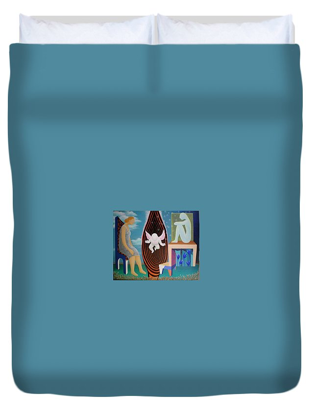 Figurative Duvet Cover featuring the painting Await by Raju Bose