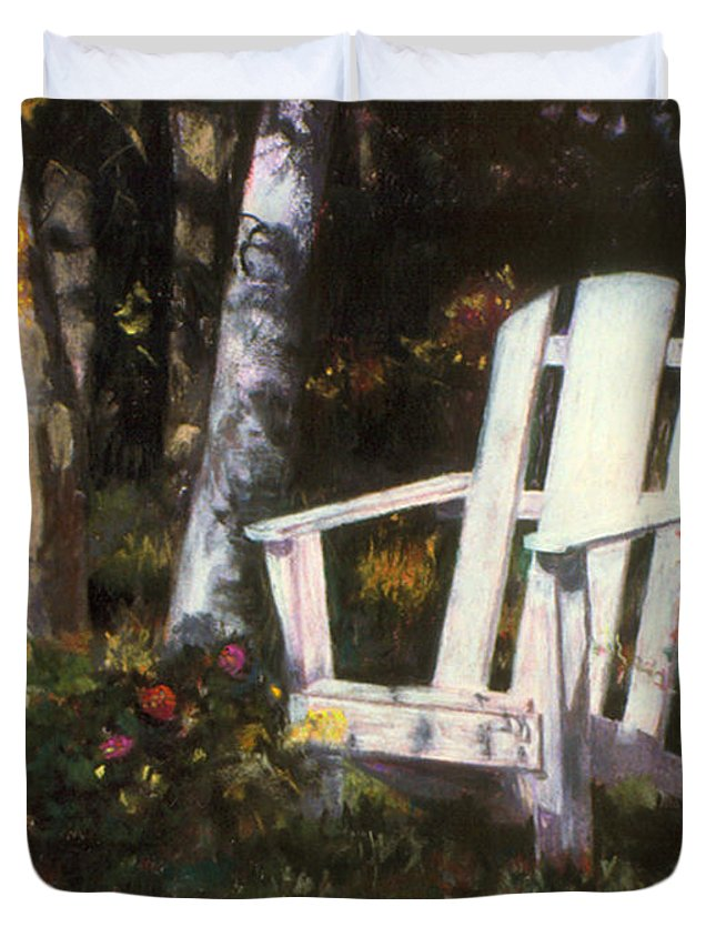Adirondack Chair Duvet Cover featuring the pastel Awaiting by Julie Maas