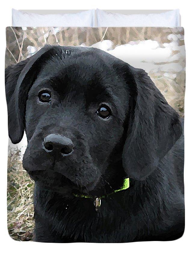 Awaiting Spring - Black Lab Puppy Duvet Cover