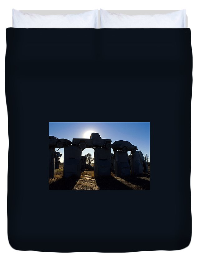 Car Henge Duvet Cover featuring the photograph Awaiting The Aliens by Jerry McElroy