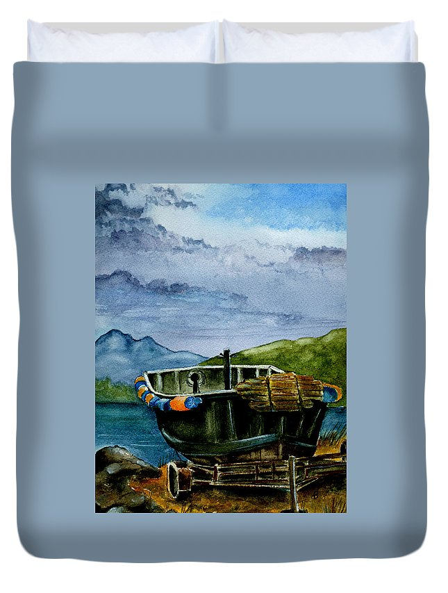 Watercolor Duvet Cover featuring the painting Awaiting The Season by Brenda Owen