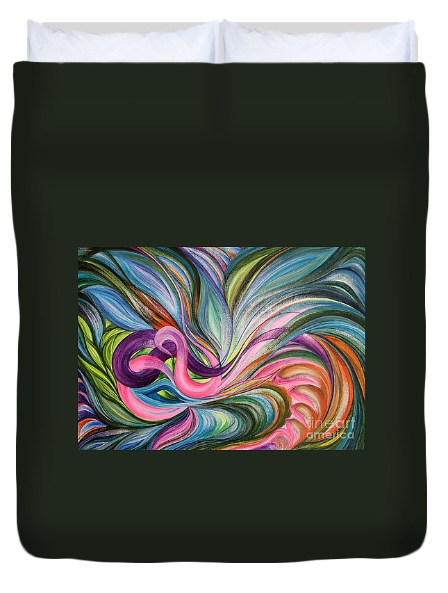 Abstract Duvet Cover featuring the painting Awakening 1 by Maya Bukhina