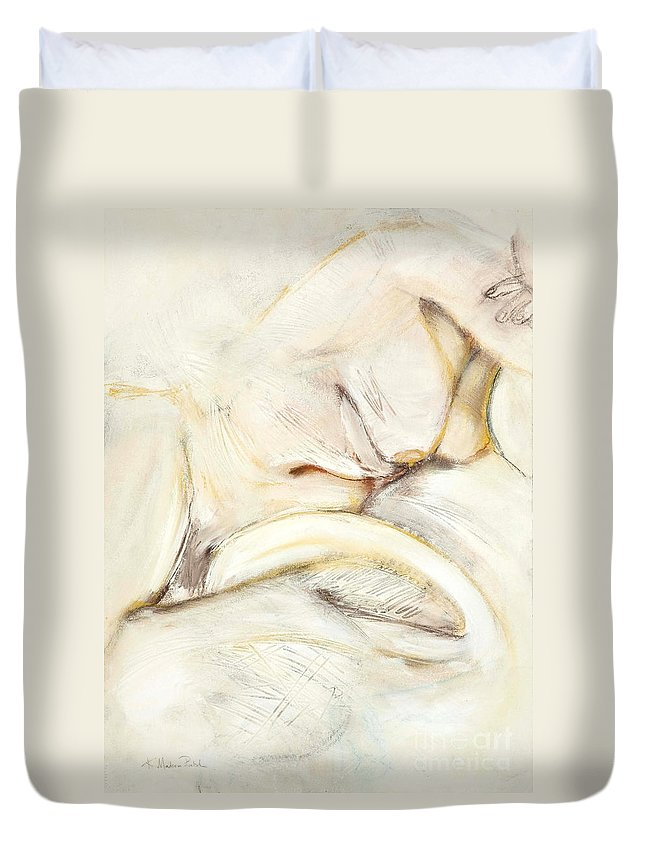 Female Duvet Cover featuring the drawing Award Winning Abstract Nude by Kerryn Madsen-Pietsch