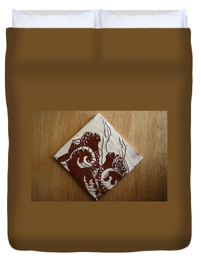 Jesus Duvet Cover featuring the ceramic art Awareness - Tile by Gloria Ssali