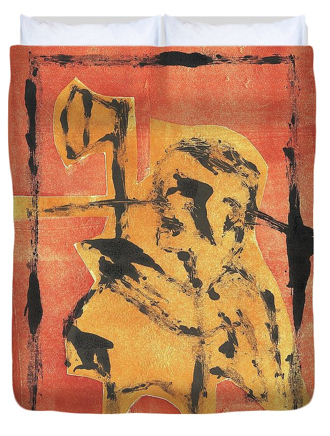 Axeman Duvet Cover featuring the relief Axeman 8 by Artist Dot