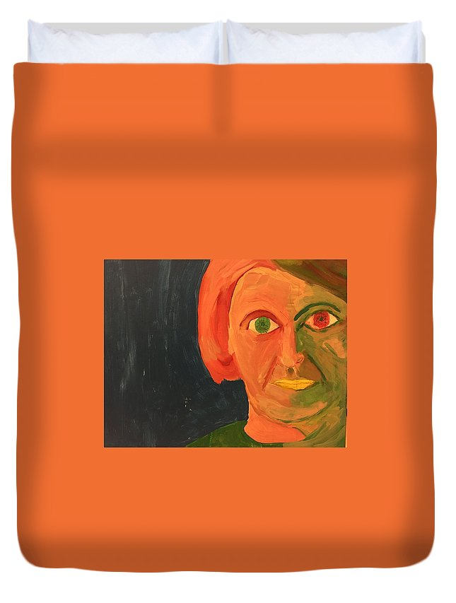 Ayn Rand Duvet Cover featuring the painting Ayn Rand by Jose Benegas