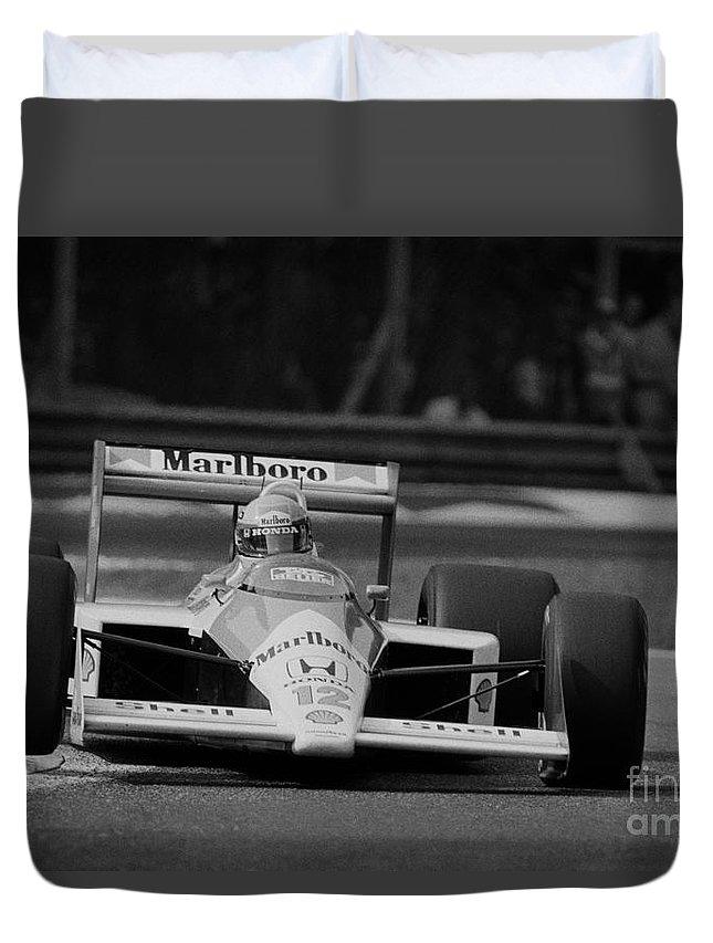 Formula One Duvet Cover featuring the photograph Ayrton Senna. 1988 Italian Grand Prix by Oleg Konin