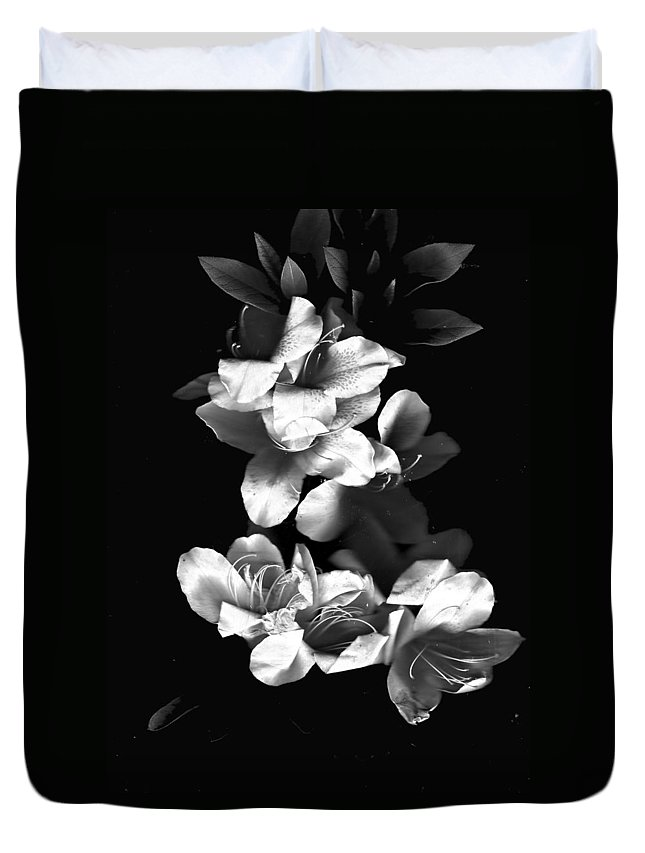 Azaela Duvet Cover featuring the photograph Azaela Blossom In Black And White by Wayne Potrafka