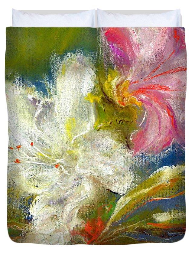 Duvet Cover featuring the painting Azaelas by Alexis Bonavitacola