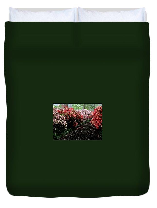 Azaleas Duvet Cover featuring the photograph Azalea Pathway by Deborah Crew-Johnson