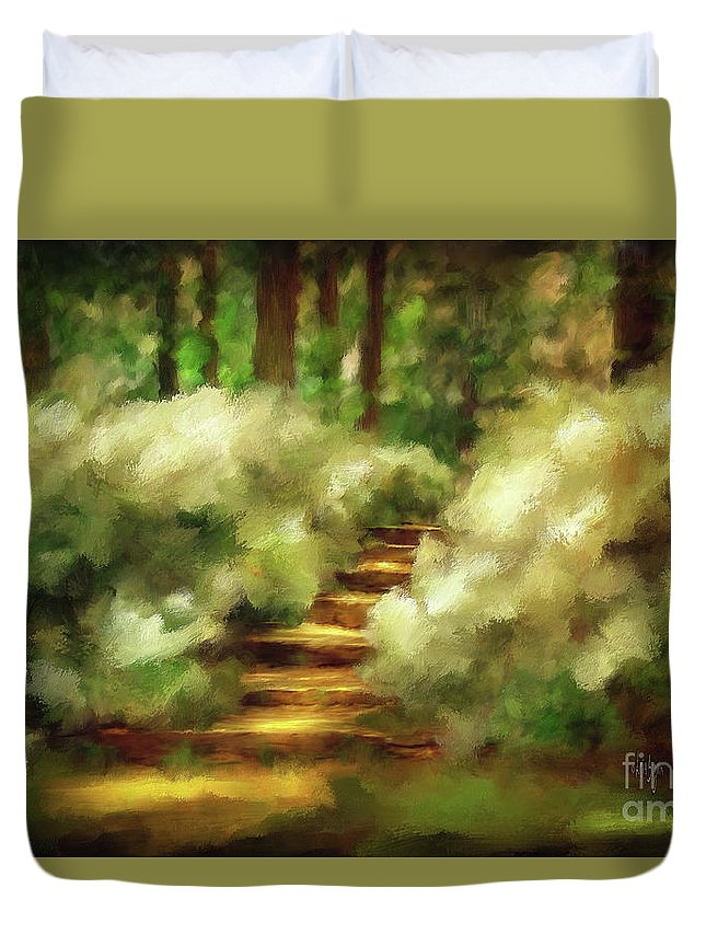 Spring Duvet Cover featuring the photograph Azalea Stairs by Lois Bryan