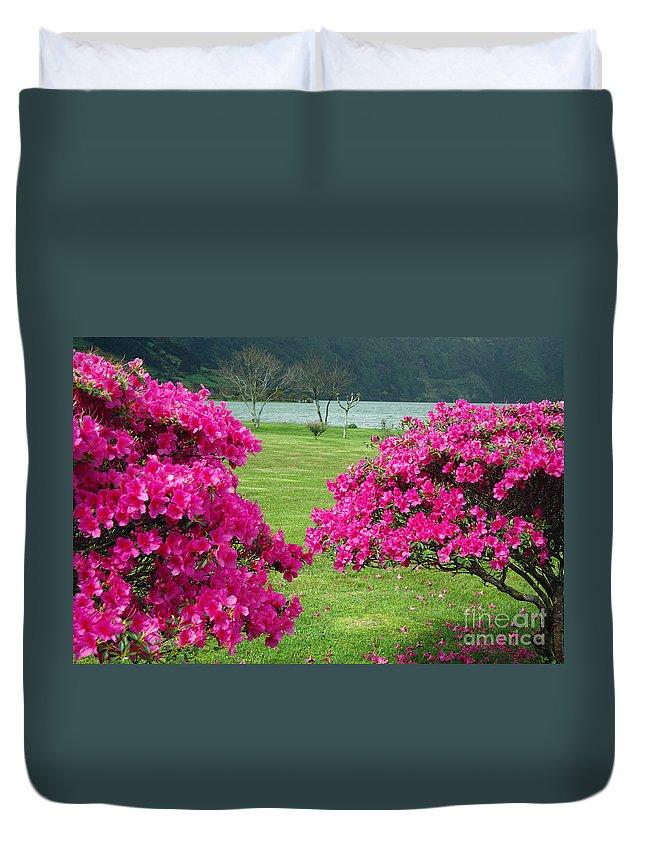 Azaleas Duvet Cover featuring the photograph Azaleas At The Azores by Gaspar Avila