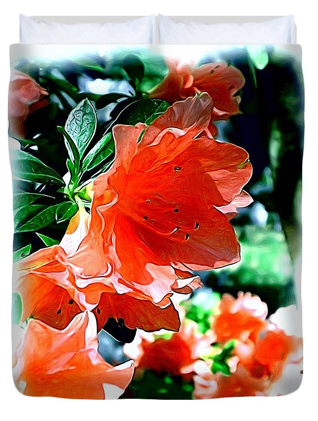 Fine Art Duvet Cover featuring the painting Azaleas in the Spring by Patricia Griffin Brett