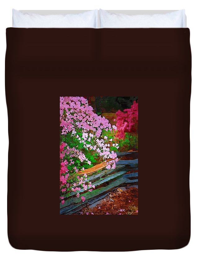 Flowers Duvet Cover featuring the photograph Azaleas Over The Fence by Donna Bentley
