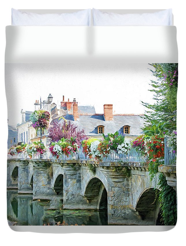 Azay Le Rideau Bridge Duvet Cover featuring the photograph Azay Le Rideau Bridge, Loire, France by Curt Rush