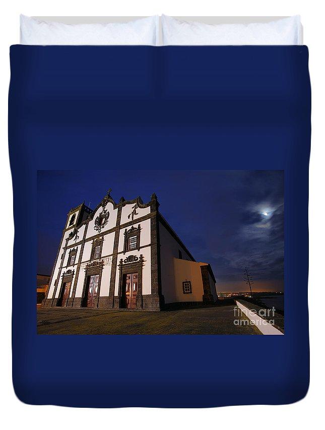Catholic Duvet Cover featuring the photograph Azorean Church At Night by Gaspar Avila