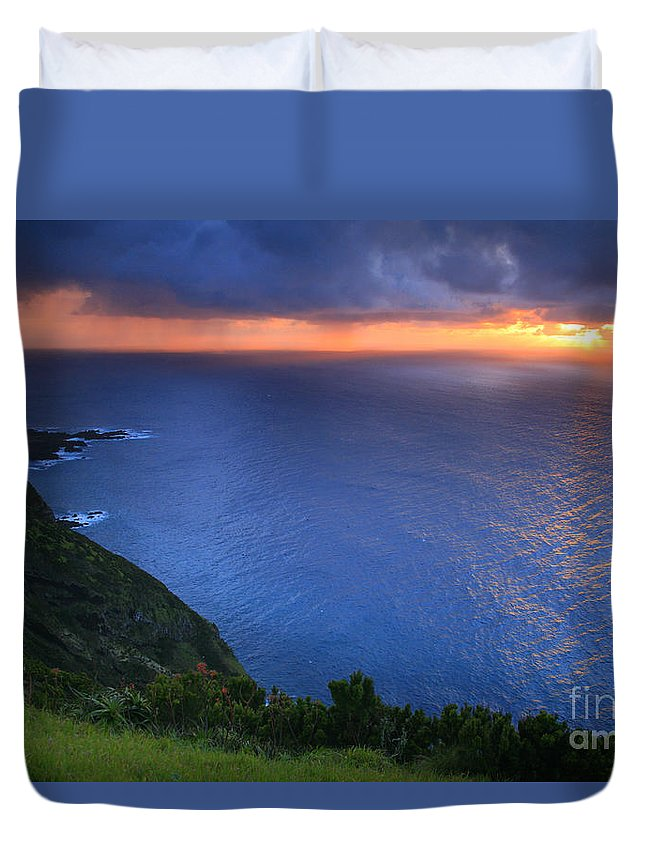 Island Duvet Cover featuring the photograph Azores Islands Sunset by Gaspar Avila