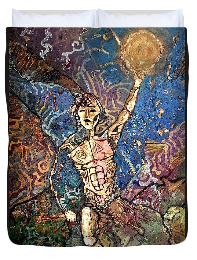 Cosmogony Duvet Cover featuring the painting Aztec Cosmogony by Bob Money