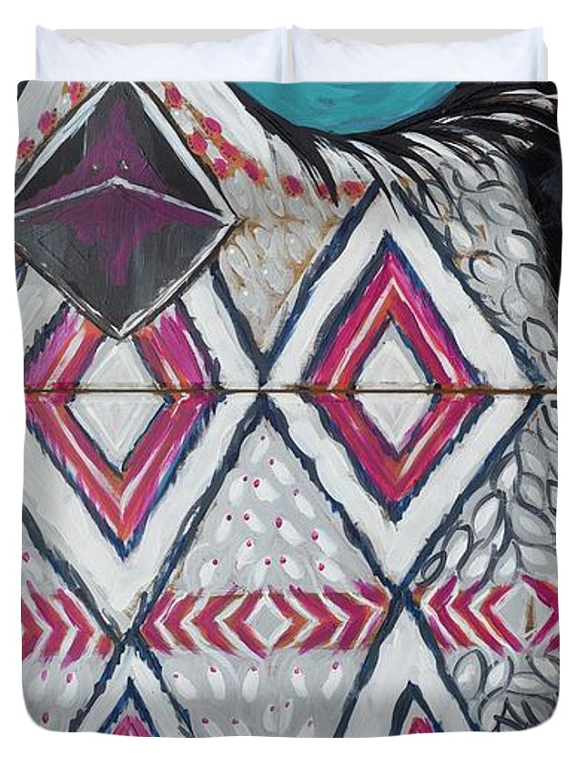 Owl Duvet Cover featuring the painting Aztec Owly by Sarah Jewett