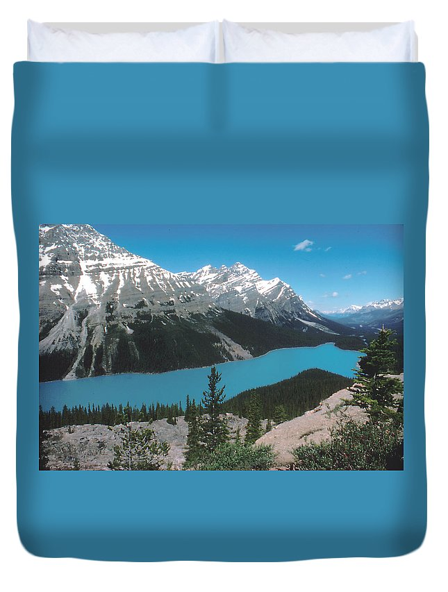 Canada Duvet Cover featuring the photograph Azure Alberta by Ron Swonger