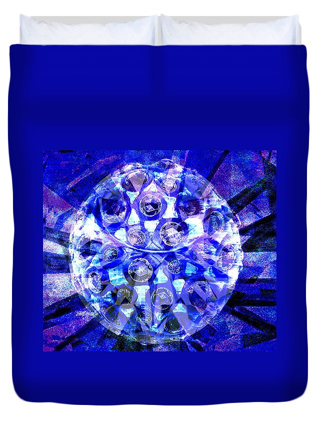 Abstract Duvet Cover featuring the digital art Azure Orb Of Midas by Seth Weaver