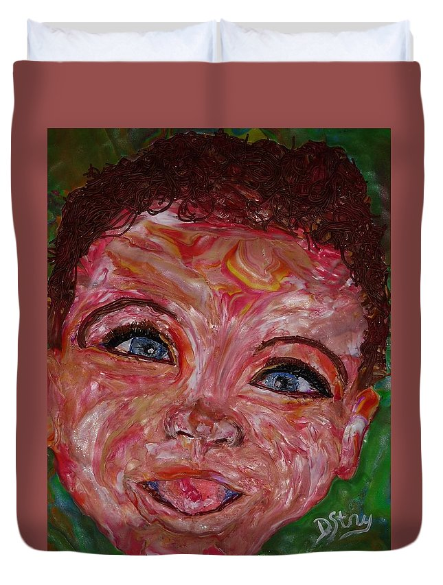 Polymer Clay Duvet Cover featuring the mixed media Azuriah by Deborah Stanley