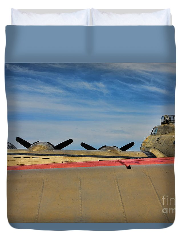 B-17 Duvet Cover featuring the photograph B-17 Flying Fortress by Chuck Kuhn