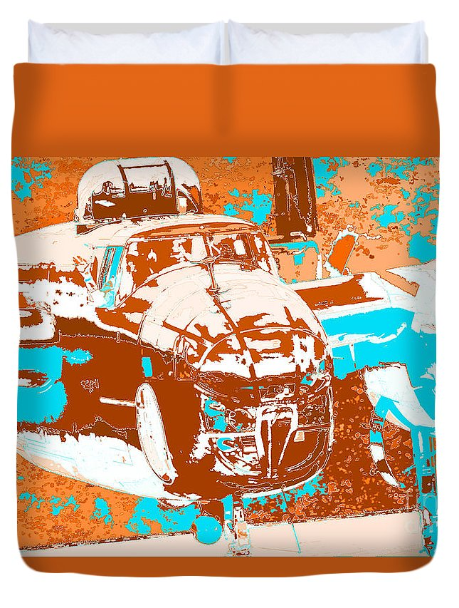 B-25 Blue Brown Duvet Cover featuring the digital art B-25 Blue Brown by Chris Taggart