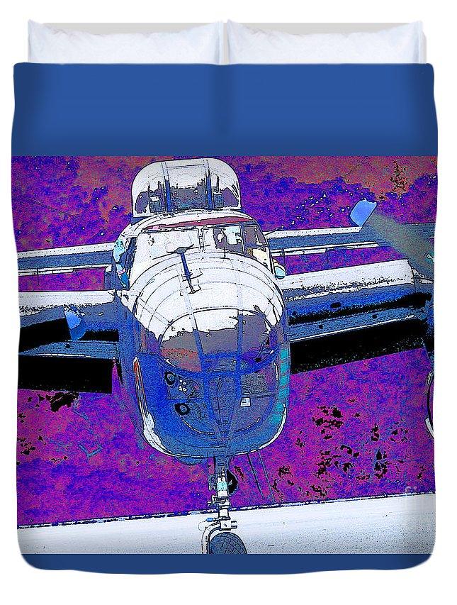 B-25 Blue Purple Duvet Cover featuring the digital art B-25 Blue Purple by Chris Taggart