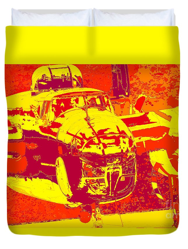 B-25 Red Yellow Duvet Cover featuring the digital art B-25 Red Yellow by Chris Taggart