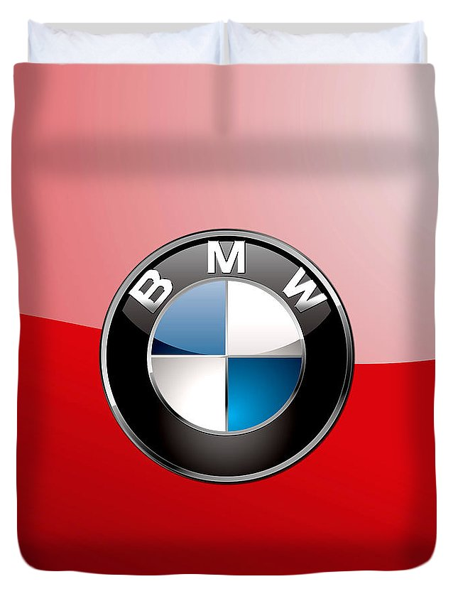 'auto Badges 3d' By Serge Averbukh Duvet Cover featuring the photograph B M W Badge On Red by Serge Averbukh